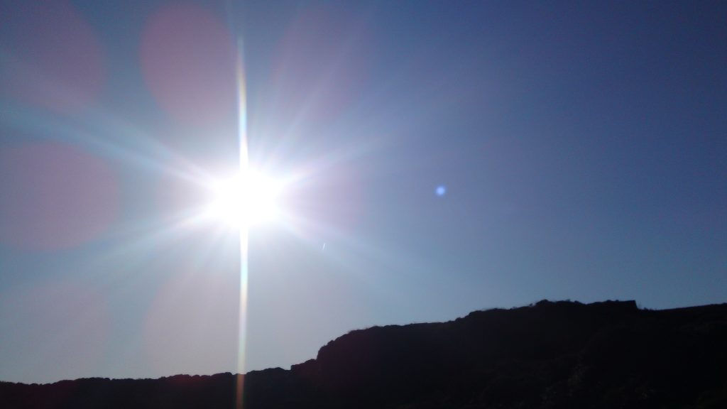 Walking on Ilkley Moor early sun