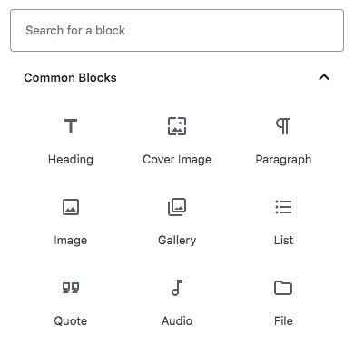 Gutenberg Editor blocks